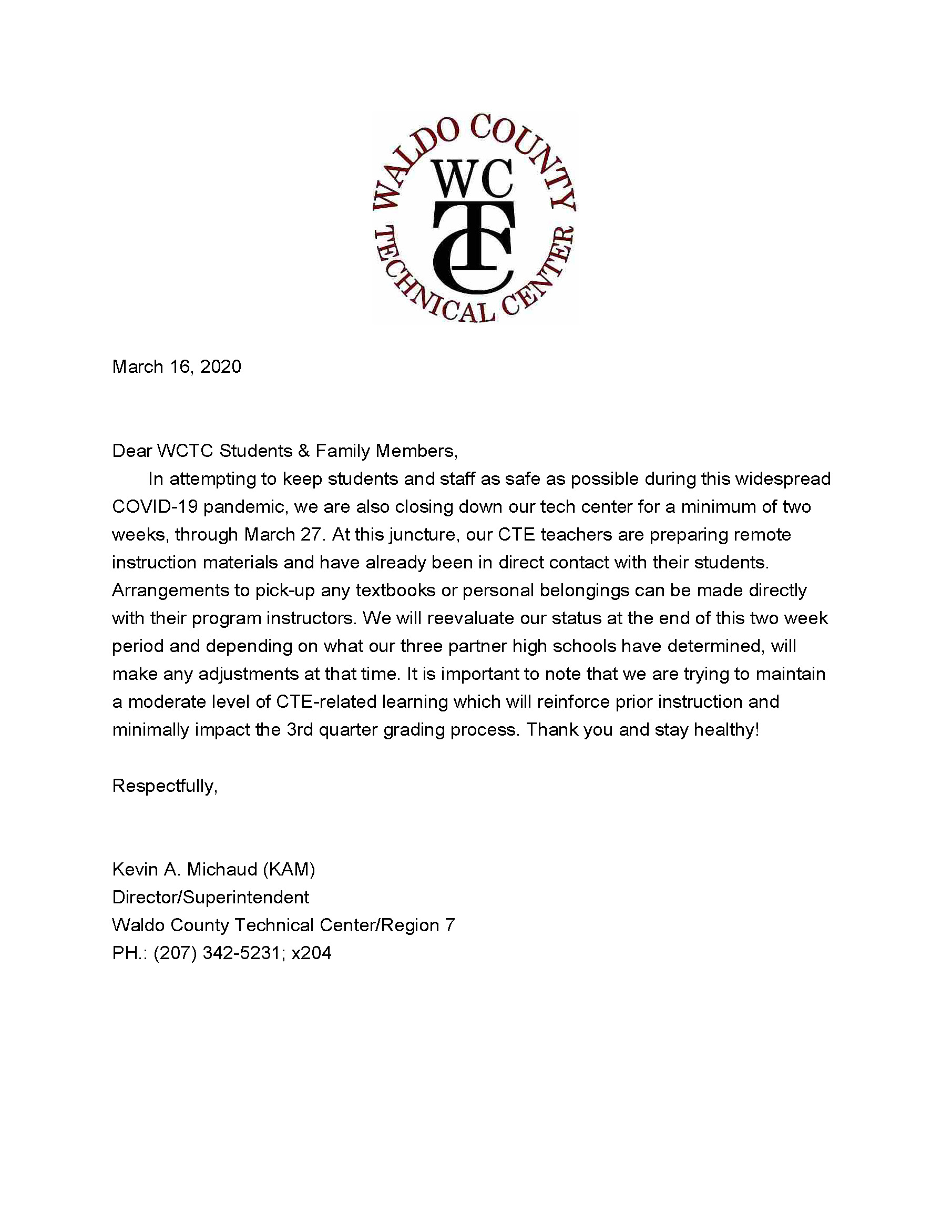 Closure Letter March 2020